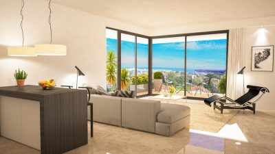 New two-bedroom apartment, two terraces, sea view, Antibes town-centre